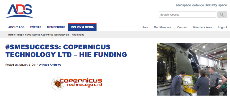 Copernicus Technology ADS SME Success page